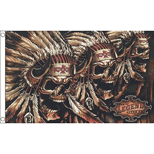 AZ FLAG Bandera Calavera con Indios 150x90cm - Bandera Pirata...