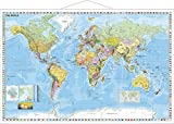 NAGA. Gerollte Weltkarte. Laminiert. Mit Schreib-/Abwischfunktion,  Englisch, 137x89