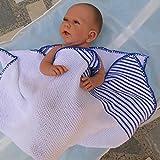 Babydecke Krabbeldecke, Kinderwagendecke, handgestrickt, Baumwolle,
