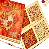 #1: Ghasitaram Gifts Rakhi Gifts For Brother Rakhi Dryfruits - Ghasitaram's Golden Dryfruit Box 400 gms with Rudraksh Rakhi