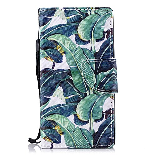 Preisvergleich Produktbild Hülle für Sony Xperia XA2, Sony Xperia XA2 Flip Case, FNBK Leder Hülle Schutzhülle Magnet Tasche Brieftasche Wallet Klapphülle Stand Magnetverschluss HandyHülle für Sony Xperia XA2, Plantainbaum