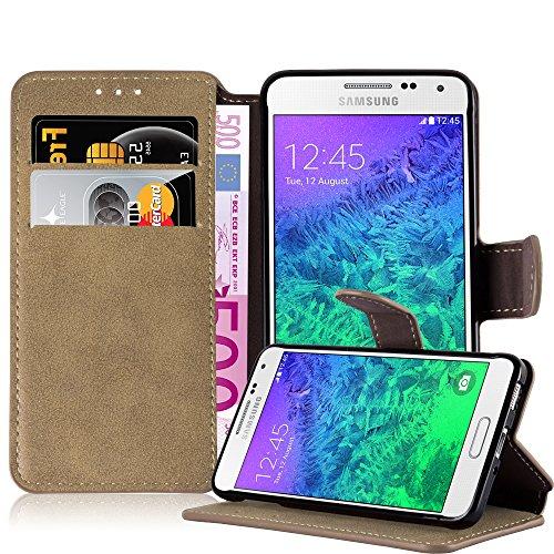 3527faa70f53f1 Cadorabo Coque pour Samsung Galaxy Alpha, Marron Mat Design Retro Housse de  Protection Portefeuille.