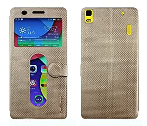 Lenovo A7000 Flip Cover With Notification Window - Cool Mango iMaterial Window Flip Cover / Case for Lenovo A 7000 - Royal Gold