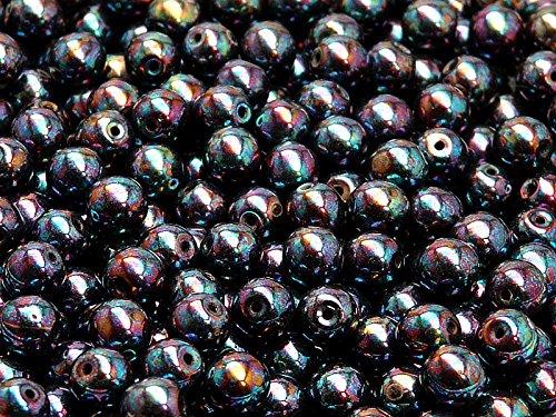 50pc Ceco tondo perle di vetro schiacciate, diametro 6 mm, Jet Iris Luster