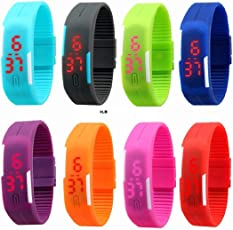 Neo Gold Leaf Red Star Unisex Silicone Jelly Slim Set - 8 Sports Digital Led Bracelet Band Watch