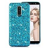 Brillant Paillette Coque pour Samsung A82018[avec protection d'écran HD] Samsung Galaxy A8 Plus 2018 bleu
