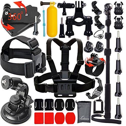 Leknes Kit de Accesorios de Deportes al Aire Libre para GoPro Hero 4 Kit de 3 + 3 2 1 Negro de Accesorios de Plata para GoPro SJ4000 SJ5000 Cámara de los