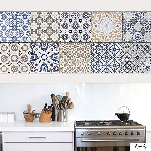 JY ART Carrelage Autocollant - Sticker adhésiv pour Mural de Salle de Bain et Cuisine   Tuiles décalcomanies - Stickers carrelage Carrelage Adhesif Moderne rétro Style méditerranéen, 20 * 100cm*4pcs