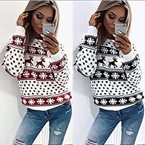 Gusspower Damen Weihnachtspullover Rundhals Langarm Christmas Sweater Elch Drucken Sweatshirt Neuheit Freizeit Winter Rot Top
