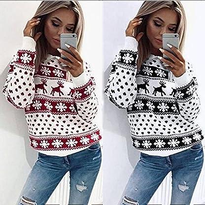 Fossen MuRope Sudadera Navidad Mujer Invierno Impresión de Alces – Sudaderas Tumblr Adolescentes Flojo Largas – Jersey Suéter de Navidad para Mujer – Pullover Hoodies Chica
