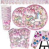 82 Piezas – Vajilla Diseño de Unicornio Desechable – Accesorio de Decoración de Fiesta de Cumpleaños - Apoyo para Celebración – Pancarta, Platos, Vasos, Servilletas y Mantel Resistente – 20 Invitados Color Rosa