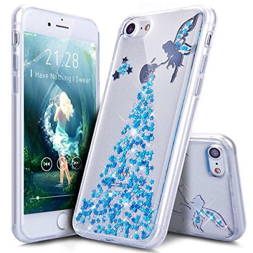 Coque iPhone 7,Étui iPhone 7,iPhone 7 Case,ikasus® Coque iPhone 7 Silicone Étui Housse Téléphone Couverture TPU avec Bling Glitter Sparkle Brillant étincelle Étoile l'ange Fille Star Angel girl Modèle Ange:Bleu