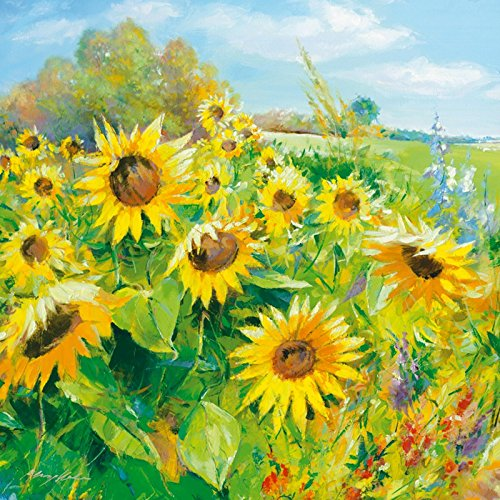 druck aufgezogen auf Holz-Platte Wand-Bild Andreas Meyer zur Heide Sommerwiese mit Sonnenblumen Botanik Blumenwiese Sonnenblume Malerei Gelb 69 x 69 x 1,2 cm A1QU (Wand-kunst Mit Holz Rahmen)