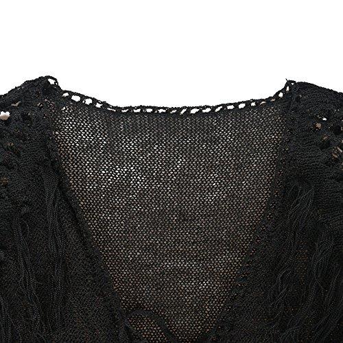 Walant Damen Sommer Gestrickt Strand Bademode Bikini Cover Up Crochet Kurze Kleider Tops Bluse Sweatshirt mit Quasten Schwarz