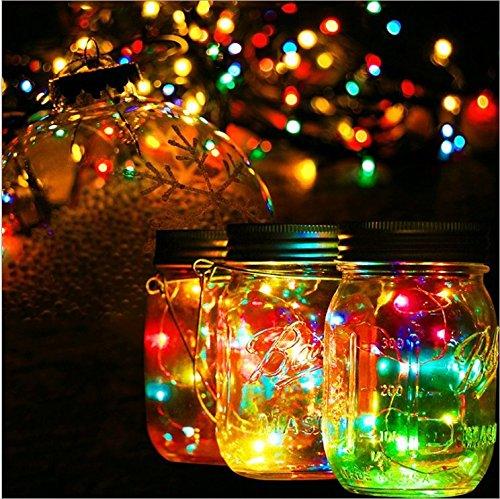 3packs Solar Mason Jar Licht - Maurer Glas LED Bunte Fee Jar Deckel Lichtbetriebene Gartentisch...
