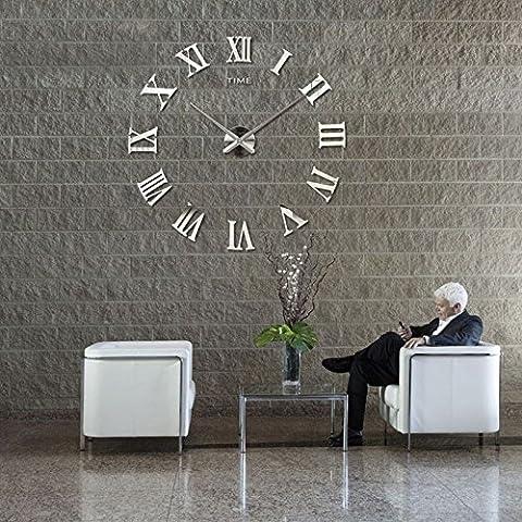 DIY Wanduhr Moderne Clock 3D Acryl Spiegel Metall Rahmenlose Wandaufkleber groß Uhren Style Raum Home Dekorationen Tolles