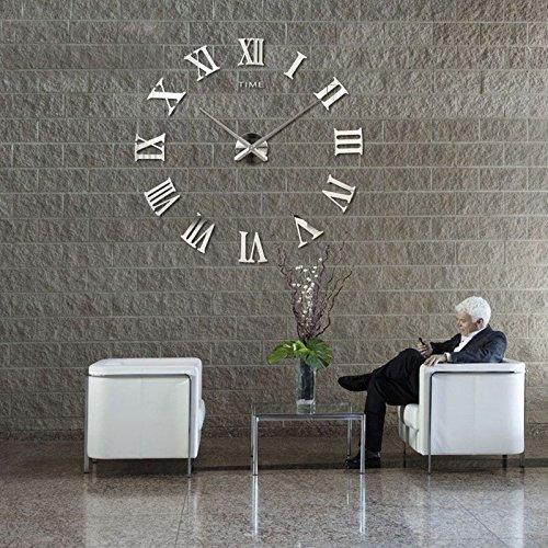 DIY Wanduhr Moderne Clock 3D Acryl Spiegel Metall Rahmenlose Wandaufkleber groß Uhren Style Raum Home Dekorationen Tolles (Dekorationen Home)