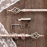AT17 Gardinenstange Vorhangstange Gardinenstange Variable Länge Landhaus Shabby Chic - Unendlichkeit/Spirale - 160-300 - Durchmesser 2 cm - Weiß/Kupfer - Metall