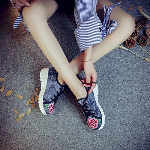Icegrey Scarpe Donna Ballerine Ricamato A Mano Punta A Scalpello Superiore Cuneo Sneaker Nero