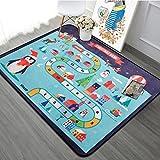 HYRL Carpets Kinderteppich Playmat Leben in der Stadt Extra Groß Haben Sie Spaß Safe Area Teppich Straßenverkehrssystem Ideal Für Das Spielen mit Autos Für Schlafzimmer Playroom,A,190×280Cm
