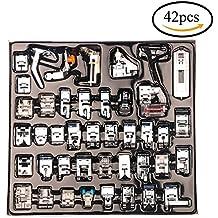 CCMART Pies profesionales de la máquina de coser 42pcs de la máquina de coser para Brother, cerradura del bebé, cantante, Elna, Toyota, nuevo hogar, simplicidad, Janome, Kenmore, y máquina de costura blanca del vástago bajo