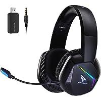 SOMiC 2.4G Wireless-Gaming-Headset für PS4, PS5, PC mit abnehmbarem Mikrofon und RGB-Regenbogen-LED, Surround-Sound…