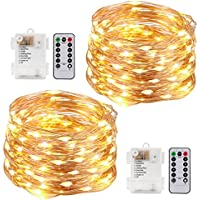 Kohree String lights LED Copper Wire Fairy Christmas Light with Remote, 20ft/6M 60LEDs, 8 Modes AA Battery Powered, Waterproof Battery Box, Seasonal Decor Rope Lights for Holiday, Wedding, Party