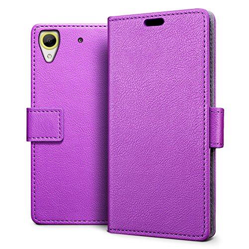 SLEO HTC Desire 650 Hülle – Premium Luxuriös PU lederhülle [Vollständigen Schutz] [Kreditkartenfach] Flip Brieftasche Schutzhülle im Bookstyle für HTC Desire 650 - Lila