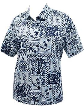 hawaiano cuello novio camisa blusas para mujer ropa de playa impresos de manga corta casuales