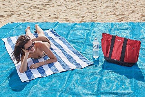 Telo tappeto coperta mare antisabbia l'asciugamano da spiaggia che non si insabbia colore azzurro 200x150cm