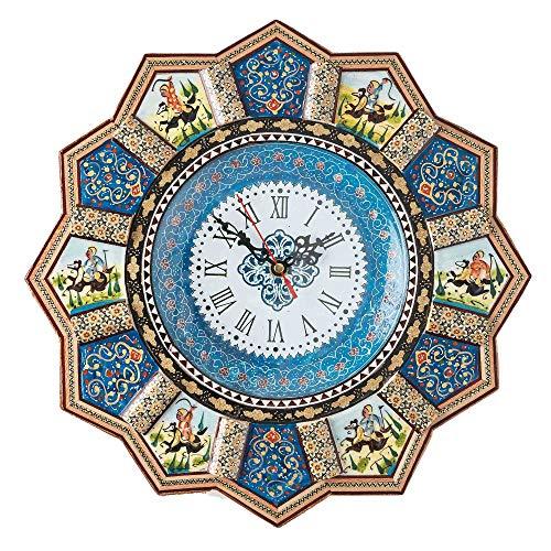 Lpuk orologio da parete lusso khatam, sunclock collection series 2 persiano artigianale sole a forma di cavallo e polo pictured intarsiato in legno orologio da parete, diametro: 32 cm