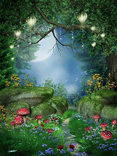 WaW 1.5 x 2.2 m Fotografie Studio Hintergrund Grün Hochsommer Night Magie Wald Fotohintergrund für Kinder
