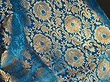 Seiden-Mischgewebe, Brokat, Blumenmuster, Türkis/Blau