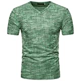 VEMOW Top Selling Fashion Herren Sommer Casual Täglichen Außerhalb SOID Loch V-Ausschnitt Pullover T-Shirt Top Bluse Pulli Tees(Grün, EU-60/CN-XXL)