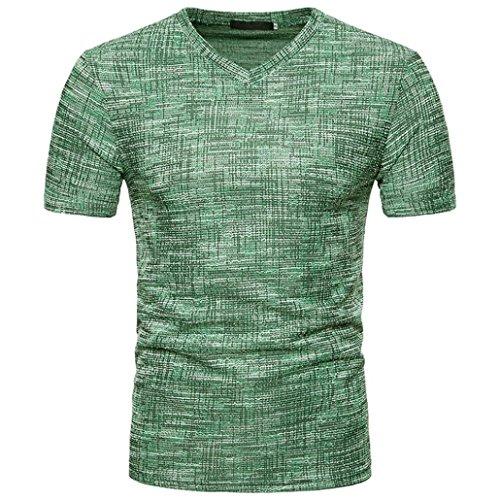 VEMOW Top Selling Fashion Herren Sommer Casual Täglichen Außerhalb SOID Loch V-Ausschnitt Pullover T-Shirt Top Bluse Pulli Tees(Grün, EU-60/CN-XXL) (Saum Tee)