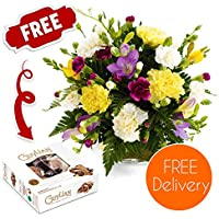 Fresh Flowers Delivered - Friendship Bouquet including Carnations and Guernsey Freesias with Free Chocolates, Flower Food and Bonus Ebook Guide - Perfect For Birthdays and Anniversaries
