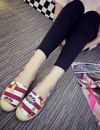ShangYi gyht Scarpe Donna-Scarpe da barca-Tempo libero / Casual / Sportivo-Punta arrotondata-Piatto-Finta pelle-Nero / Blu / Rosso Blue