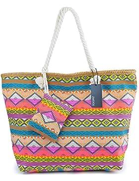 Große Strandtasche mit Reissverschluss, ZWOOS Damen Shopping Shopper Tasche Reisetasche Canvas Schultertasche...