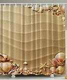 BBFhome Strand Muscheln extra 180 x 180 cm Duschvorhang Polyester Duschvorhang Beige Tan Sand