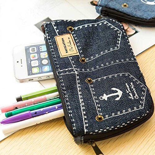Generic Deep Blue: Denim Shorts Big Kapazität Bleistift Fall Leinwand Home Storage Kosmetiktaschen School Pen Tasche -