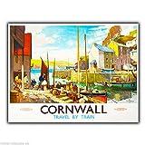 Cornwall by Train Vintage Retro Werbung Metall Wandschild
