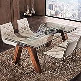 M-029 Tisch, ausziehbar, aus Glas und dunklem Holz, Design Carla 2