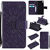 For Sony Xperia E5 Case [Purple],Cozy Hut [Wallet Case] Magnetic Flip Book Style Cover Case ,High Quality Classic New design Sunflower Pattern Design Premium PU Leather Folding Wallet Case With [Lanyard Strap] and [Credit Card Slots] Stand Function Folio Protective Holder Perfect Fit For Sony Xperia E5 5,0 inch - purple