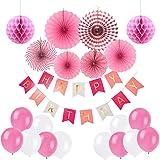 Ciaoed Geburtstagsdeko Geburtstag Party Dekorationen Set für Mädche Jungen Happy Birthday Banner Girlande mit Luftballons Latexballons und Wabenbälle Papier Rosa(pink)