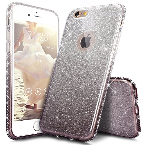 Coque iPhone 6S Plus,Coque iPhone 6 Plus,Étui iPhone 6S Plus / 6 Plus Case,ikasus® Layer 3 Crystal Clear dur PC & Souple Gel TPU & Glitter Stickers Case Cover Coque pour iPhone 6S Plus / 6 Plus Silico Noir