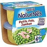 Nestlé Bébé Naturnes Petits Pois Jambon - Plat Complet dès 6 Mois - 2 x 200g - Lot de 4