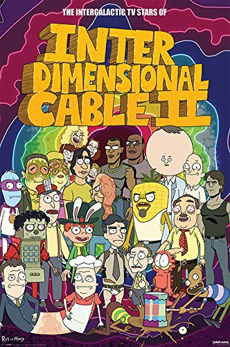 Rick And Morty Stars of Interdimensional Cable Póster multicolor