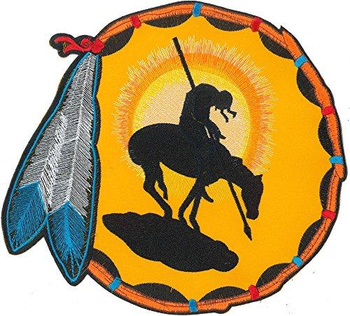 XXL INDIANA Häuptling Pferd Western Federn Kostüm Motorcycle Aufnäher BACKPATCH