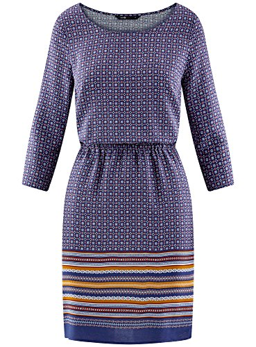 oodji Ultra Damen Viskose-Kleid mit 3/4-Arm Blau (7949G)