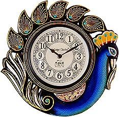 Vintage Clock Handicraft Peacock Blue Wall Clock/One Year Warranty